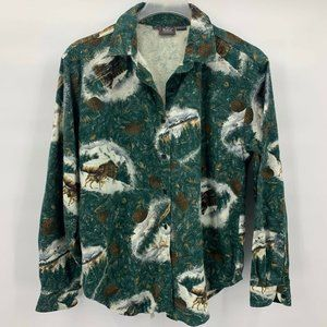 Woolrich Mens Shirt Green White Long Sleeve Sz XL